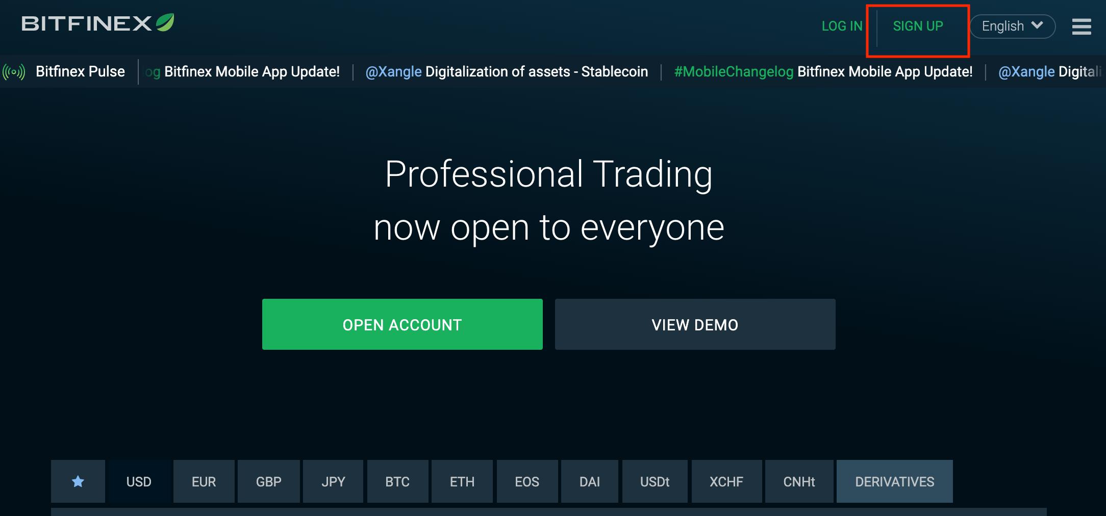 公式サイト bitfinex